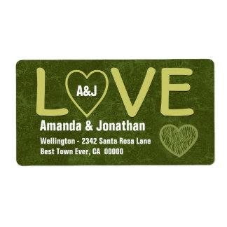 Etiqueta del verde verde oliva del AMOR con el cor Etiquetas De Envío