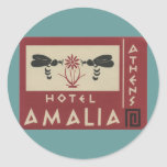 Etiqueta del viaje del vintage de Amalia del hotel