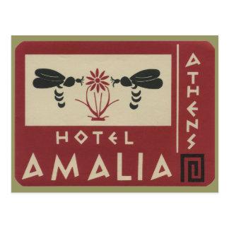 Etiqueta del viaje del vintage de Amalia del hotel Tarjeta Postal