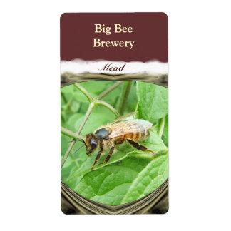 Etiqueta del vino de la aguamiel del de la abeja etiqueta de envío