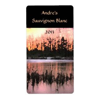 Etiqueta del vino de la puesta del sol de la charc etiquetas de envío