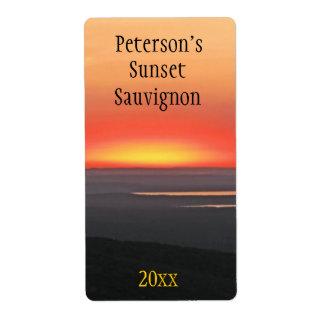 Etiqueta del vino de la puesta del sol etiquetas de envío