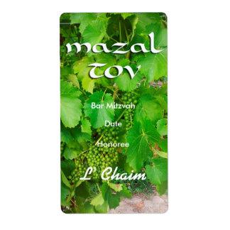 Etiqueta del vino de la vid de Mazal Tov Etiquetas De Envío
