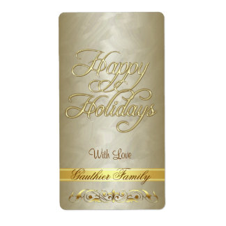Etiqueta del vino de la voluta del oro buenas fies etiqueta de envío
