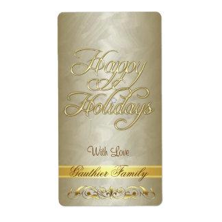 Etiqueta del vino de la voluta del oro buenas fies etiquetas de envío