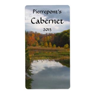 Etiqueta del vino de las reflexiones del lago etiquetas de envío