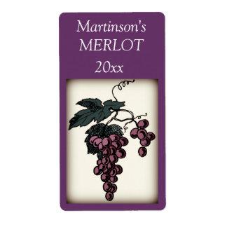 Etiqueta del vino de las uvas etiquetas de envío
