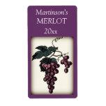 Etiqueta del vino de las uvas etiqueta de envío