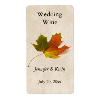 Etiqueta del vino del boda de la caída etiquetas de envío