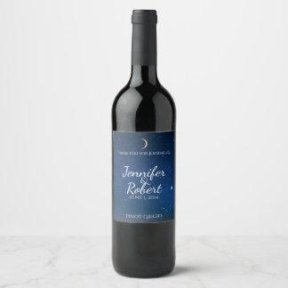 Etiqueta del vino del boda de la noche estrellada