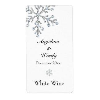 Etiqueta del vino del boda del copo de nieve del etiquetas de envío