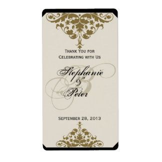 Etiqueta del vino del boda del damasco del negro etiquetas de envío
