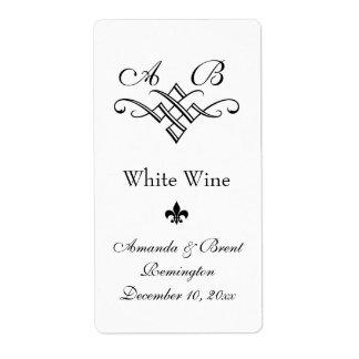 Etiqueta del vino del boda del monograma (blanca) etiqueta de envío