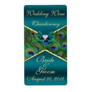 Etiqueta del vino del boda del pavo real del