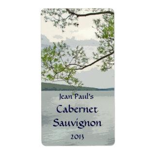 Etiqueta del vino del lago y del sauce etiqueta de envío