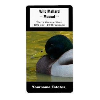 Etiqueta del vino del pato - foto del pato silvest etiqueta de envío