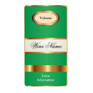 Etiqueta del vino del verde del estante superior etiqueta de envío