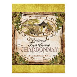 Etiqueta del vino francés del vintage tarjetas postales