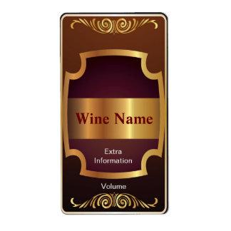 Etiqueta del vino rojo del estante superior etiquetas de envío