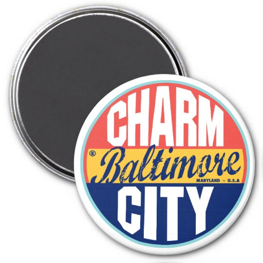 Etiqueta del vintage de Baltimore Imán Redondo 7 Cm