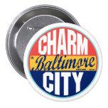 Etiqueta del vintage de Baltimore Pin Redondo De 3 Pulgadas