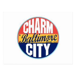 Etiqueta del vintage de Baltimore Postales