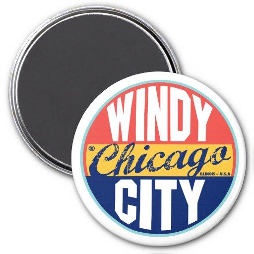 Etiqueta del vintage de Chicago Imanes Para Frigoríficos
