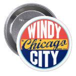 Etiqueta del vintage de Chicago Pin Redondo De 3 Pulgadas