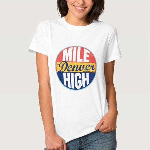 Etiqueta del vintage de Denver Camisetas