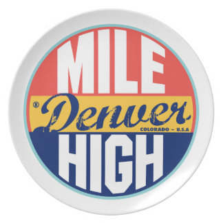 Etiqueta del vintage de Denver Plato De Comida