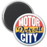 Etiqueta del vintage de Detroit Imanes De Nevera