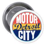 Etiqueta del vintage de Detroit Pin Redondo De 3 Pulgadas