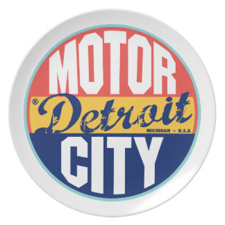Etiqueta del vintage de Detroit Plato