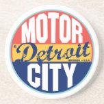 Etiqueta del vintage de Detroit Posavasos Manualidades