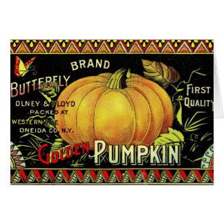 Etiqueta del vintage de la calabaza tarjeta de felicitación