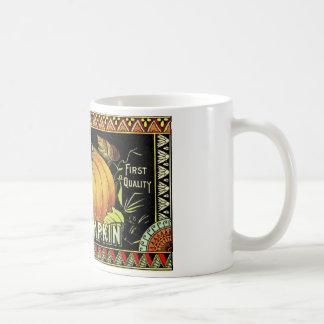 Etiqueta del vintage de la calabaza taza básica blanca