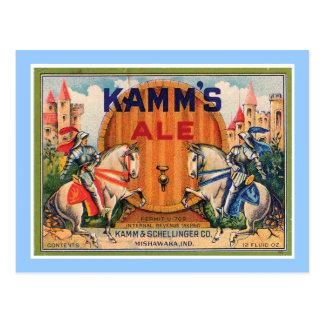 Etiqueta del vintage de la cerveza inglesa de Kamm Tarjeta Postal