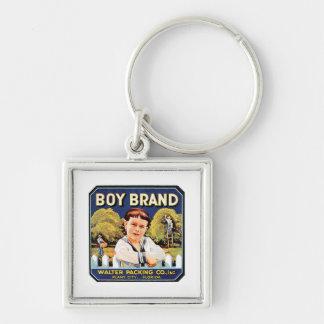 Etiqueta del vintage de la marca del muchacho llavero cuadrado plateado
