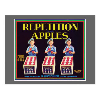 Etiqueta del vintage de las manzanas de la repetic tarjeta postal