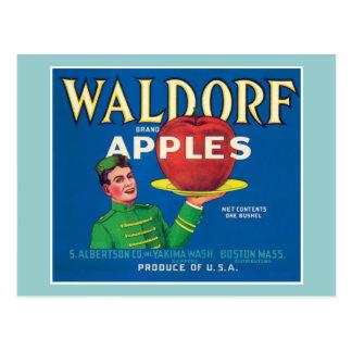 Etiqueta del vintage de las manzanas de Waldorf Postales
