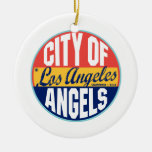 Etiqueta del vintage de Los Ángeles Ornamento De Navidad