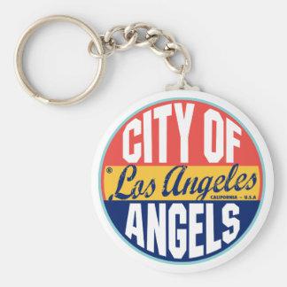 Etiqueta del vintage de Los Ángeles Llavero Redondo Tipo Pin