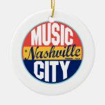 Etiqueta del vintage de Nashville Adorno Navideño Redondo De Cerámica