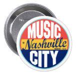 Etiqueta del vintage de Nashville Pin Redondo De 3 Pulgadas