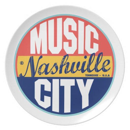 Etiqueta del vintage de Nashville Platos