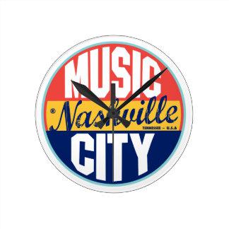 Etiqueta del vintage de Nashville Relojes De Pared
