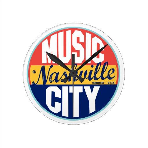 Etiqueta del vintage de Nashville Reloj Redondo Mediano