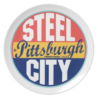 Etiqueta del vintage de Pittsburgh Plato Para Fiesta