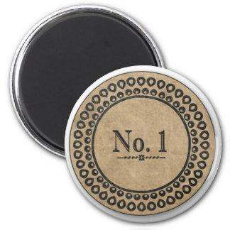Etiqueta del vintage del número 1 imán de frigorifico