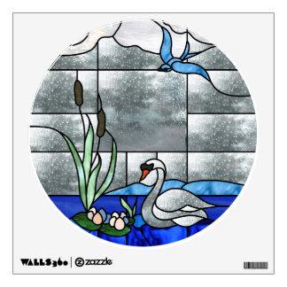 Etiqueta del vitral del cisne vinilo